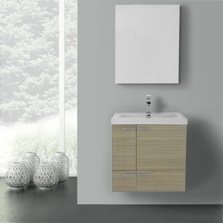 Bathroom Vanity, ACF ANS1177, 23 Inch Larch Canapa Bathroom Vanity with Fitted Ceramic Sink, Wall Mounted, Medicine Cabinet Included